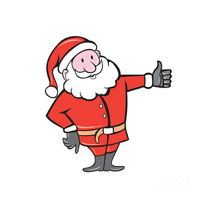 Father Christmas Digital Art - Santa Claus Father Christmas Thumbs Up Cartoon by Aloysius Patrimonio
