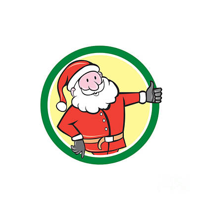 Father Christmas Digital Art - Santa Claus Father Christmas Thumbs Up Circle Cartoon by Aloysius Patrimonio