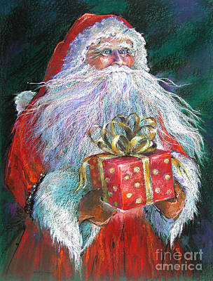 White Beard Painting - Santa Claus - The Perfect Gift by Shelley Schoenherr