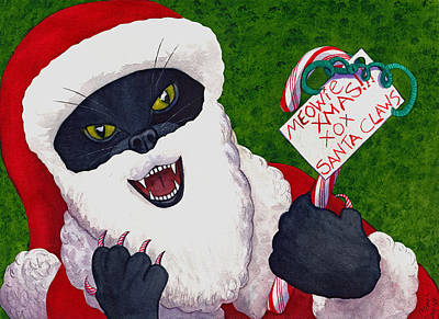 Wicked Kitty Painting - Santa Claws by Catherine G McElroy