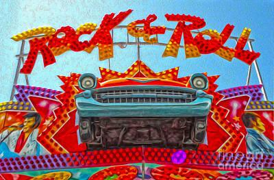 Santa Cruz Boardwalk - Rock And Roll Print by Gregory Dyer