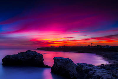 Santa Cruz Cliffs Sunset Photo Santa Cruz California Print by Dave Gordon