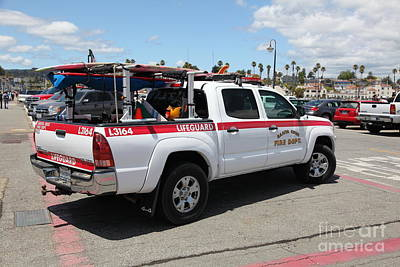 Santa Cruz Pier Photograph - Santa Cruz Fire Department Lifeguard Truck On The Municipal Wharf At Santa Cruz Beach Boardwalk Cali by Wingsdomain Art and Photography