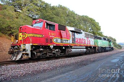 Train Tracks Photograph - Santa Fe And Burlington Northern Bnsf Locomotives At Fernandez Ranch California - 5d21154 by Wingsdomain Art and Photography