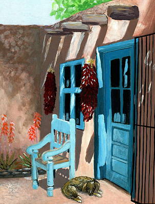 Sleeping Dogs Painting - Santa Fe Courtyard by Karyn Robinson