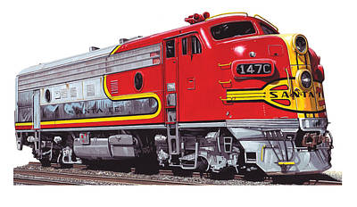 El Capitan Painting - Santa Fe F-7 by Andrew Leck