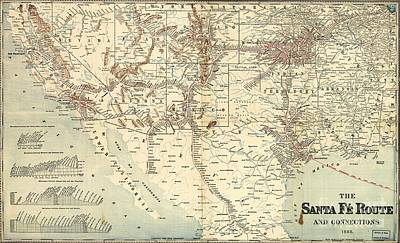 Santa Fe Railroad Routes  1888 Print by Pg Reproductions