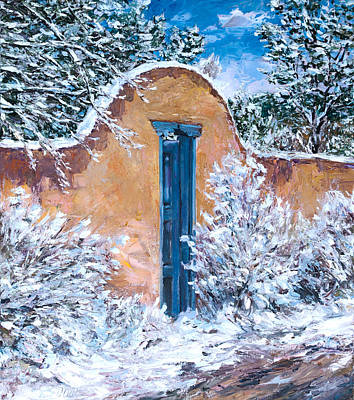 Southwest Gate Painting - Santa Fe Winter by Steven Boone