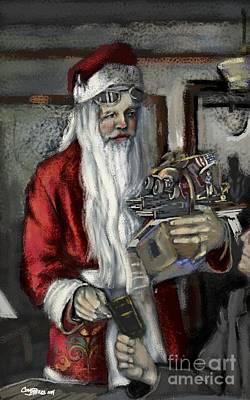 Santa Gets His Pilot's License Print by Carrie Joy Byrnes