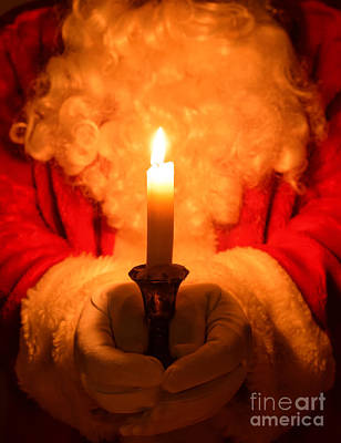 Santa Holding Candle Print by Amanda And Christopher Elwell