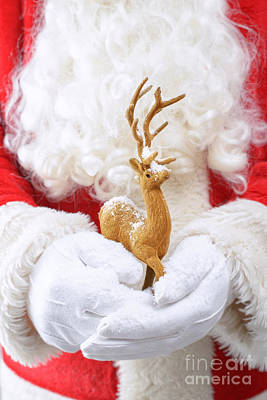 Beards Photograph - Santa Holding Reindeer Figure by Amanda Elwell