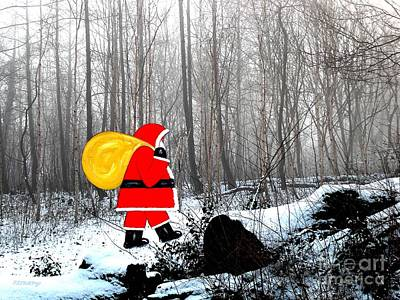 Santa In Christmas Woodlands Print by Patrick J Murphy