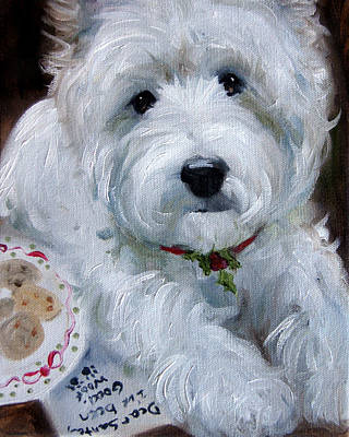 Dog Painting - Santa I've Been Good by Mary Sparrow