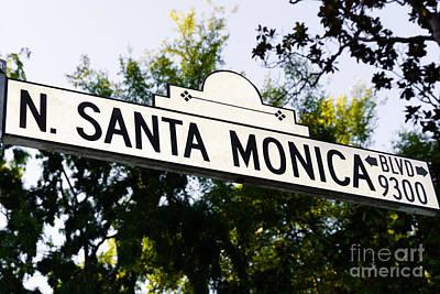 Beverly Hills Photograph - Santa Monica Blvd Street Sign In Beverly Hills by Paul Velgos