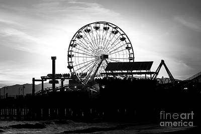 Coaster Photograph - Santa Monica Ferris Wheel Black And White Photo by Paul Velgos