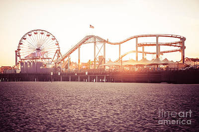 Santa Monica Pier Roller Coaster Retro Photo Print by Paul Velgos
