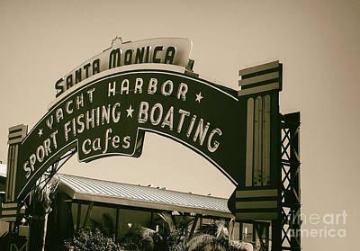 Santa Monica Photograph - Santa Monica Pier Sign by David Millenheft