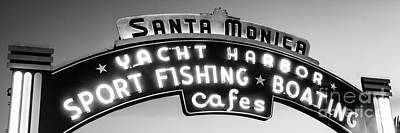 Santa Monica Pier Photograph - Santa Monica Pier Sign Panoramic Black And White Photo by Paul Velgos