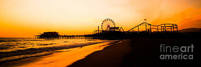 Roller Coaster Photograph - Santa Monica Pier Sunset Panorama Picture by Paul Velgos