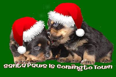 Santa Paws Is Coming To Town Christmas Greeting Print by Tracey Harrington-Simpson