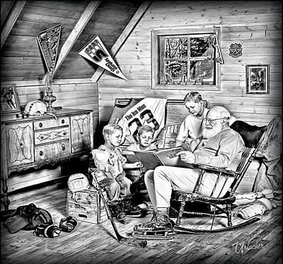 Hockey Digital Art - Santa Shares The Ice Men's Story by Elizabeth Urlacher