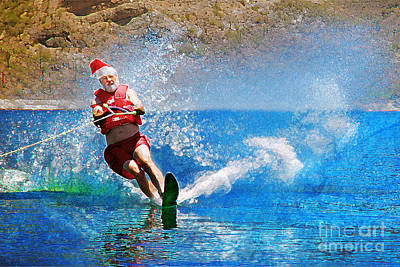 Santa Waterskiing Print by Jeanette Brown