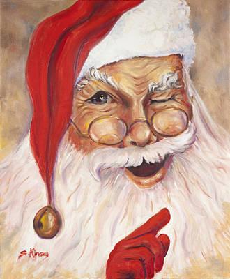Santa Winking I Print by Sheila Kinsey