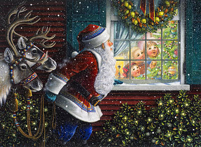 Wreath Painting - Santa's At The Window by Lynn Bywaters