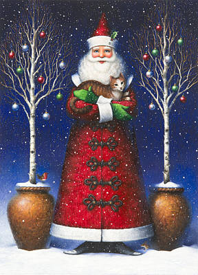 Santa Claus Painting - Santa's Cat by Lynn Bywaters