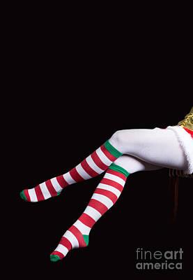 Elf Photograph - Santas Helper Legs Christmas Card by Edward Fielding