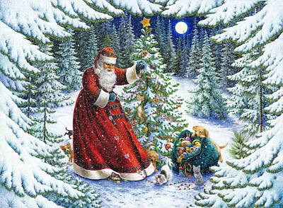 Fir Trees Painting - Santa's Little Helpers by Lynn Bywaters