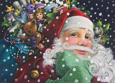 Santa Claus Painting - Santa's Toys by Lynn Bywaters