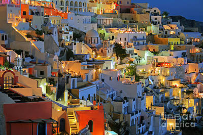 Santorini At Night Print by Lars Ruecker