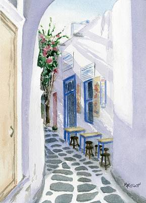 Santorini Cafe Print by Marsha Elliott