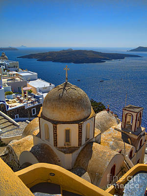 Santorini Caldera With Church And Thira Village Print by David Smith