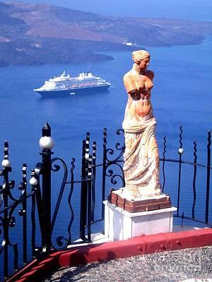 Santorini Greece Venus De Milo Print by Jay Milo