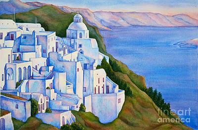 Santorini Greece Watercolor Print by Michelle Wiarda