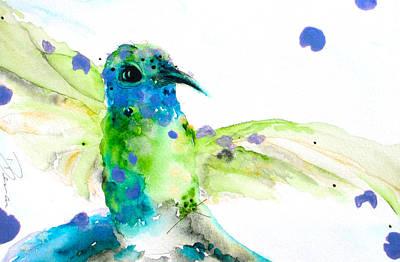 Hummingbird Painting - Sapphire by Dawn Derman