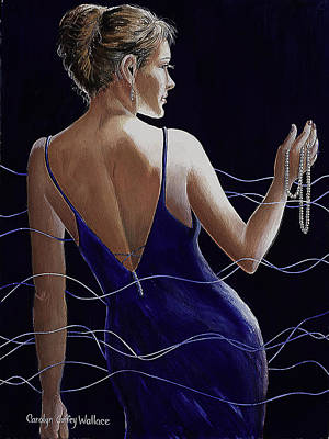 Cocktail Dress Painting - Sapphire Pearls And A Smile by Carolyn Coffey Wallace