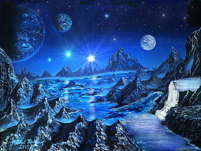 Stellar Painting - Sapphire Planet by Michael Rucker