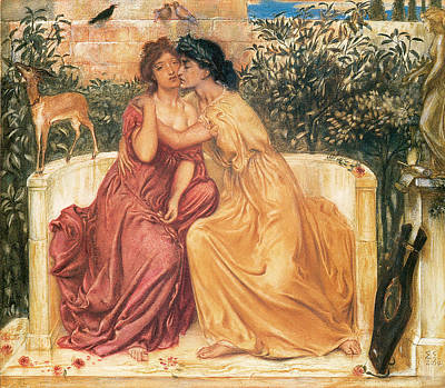 Simeon Painting - Sappho And Erinna In A Garden Of At Mitylene by Simeon Solomon