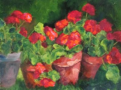 Susan L Richardson Art Painting - Sarahs Geraniums by Susan Richardson