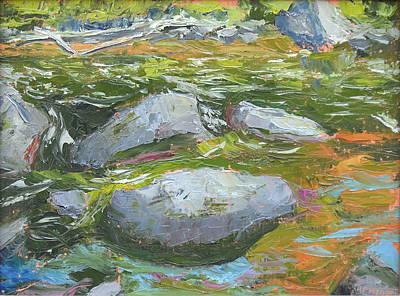 Saranac River Permanent Rapids Current Print by Robert P Hedden