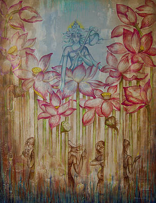 Sacred Art Painting - Sarasvati by Vrindavan Das
