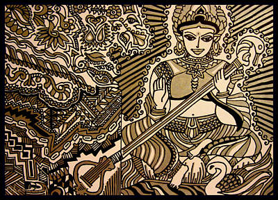 Veena Drawing - Saraswati-hindu Goddess Of Wisdom by Chandrima Dhar