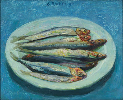 Still Life With Fish Painting - Sardines On A White Plate by Ben Rikken