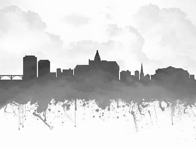 Saskatoon Saskatchewan Skyline - Gray 03 Print by Aged Pixel