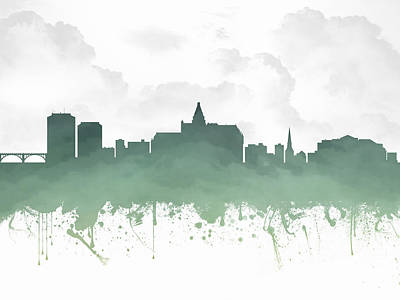 Saskatoon Saskatchewan Skyline - Teal 03 Print by Aged Pixel