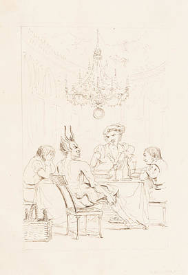 Satan And Three Men At A Table Print by Auguste Hervieu