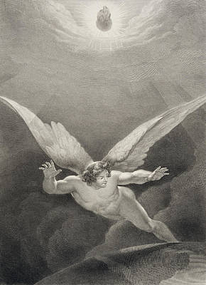 Falling Drawing - Satan Leaps Over The Walls Of Heaven by Richard Edmond Flatters